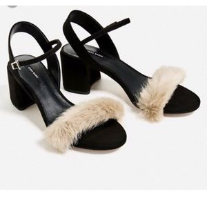 Zara Black Faux Fur Block Heel Sandals Size10EU 40